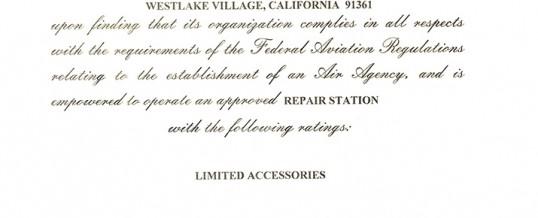 Ventura Aerospace Inc. receives FAA Repair Station Certificate